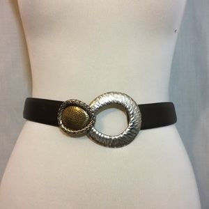 Chico's Brown Leather Silver Gold Slide Belt M/L